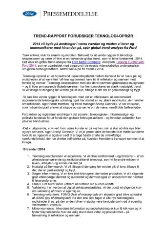 TREND-RAPPORT FORUDSIGER TEKNOLOGI-OPRØR