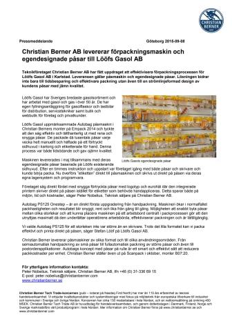 Christian Berner AB levererar förpackningsmaskin och egendesignade påsar till Lööfs Gasol AB