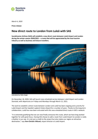 New direct route to London from Luleå with SAS
