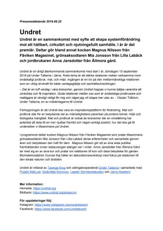 Taxinge Krog och Under Tallarna för branscherna samman med nya Under konferensen