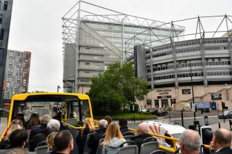 Go North East's NewcastleGateshead Toon Tour outside Newcastle United's St James' Park