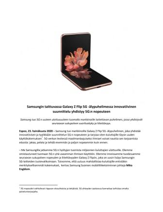 Samsungin taittuvassa Galaxy Z Flip 5G -älypuhelimessa innovatiivinen suunnittelu yhdistyy 5G:n nopeuteen