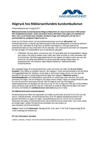 Högtryck hos Mäklarsamfundets kundombudsman