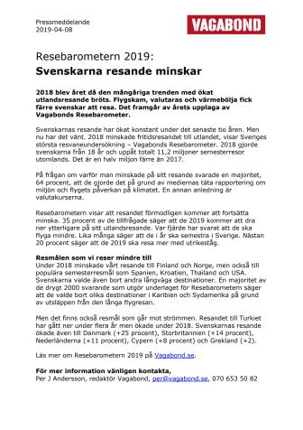 Resebarometern 2019:  Svenskarnas resande minskar
