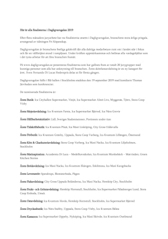 Här är alla finalisterna i Dagligvarugalan 2019