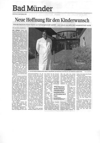 Artikel Neue Deister Zeitung - Neue Hoffnung für den Kinderwunsch