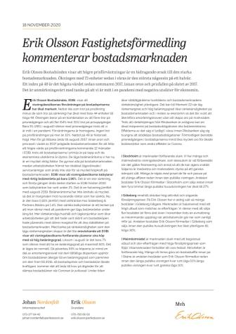 Erik Olson Fastighetsförmedling kommenterar bostadsmarknaden 18 november 20