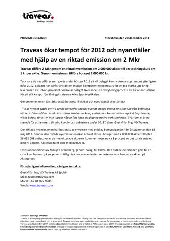 Traveas ökar tempot för 2012 och nyanställer med hjälp av en riktad emission om 2 Mkr
