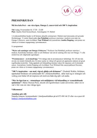 Seminarium Malmö: Må bra hela livet - om våra ögon, Omega-3, cancervård och 100 % inspiration