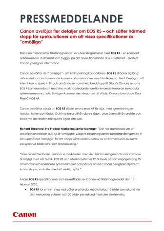 """Canon avslöjar fler detaljer om EOS R5 – och sätter härmed stopp för spekulationer om att vissa specifikationer är """"omöjliga"""""""