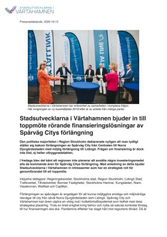 Stadsutvecklarna i Värtahamnen bjuder in till toppmöte rörande finansieringslösningar av Spårväg Citys förlängning