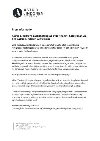 Astrid Lindgrens rättighetsbolag byter namn: Saltkråkan AB blir Astrid Lindgren Aktiebolag