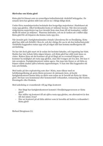 Skrivelse från Liberalerna om Kista gård