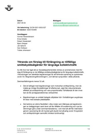 SJs yttrande om förslag till förlängning av tillfälliga smittskyddsåtgärder för långväga kollektivtrafik