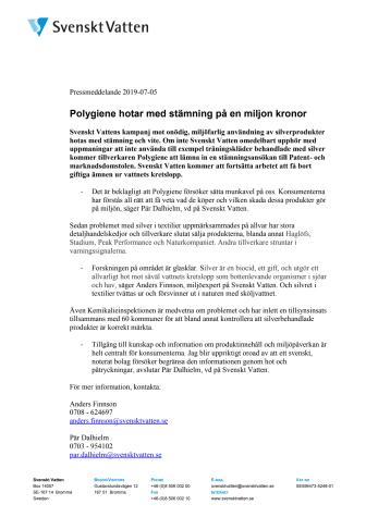 Polygiene hotar med stämning på en miljon kronor