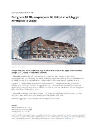Fastighets AB 3Hus expanderar till Halmstad och bygger hyresrätter i Fyllinge