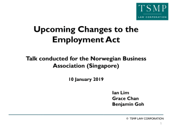Upcoming changes to the Employment Act