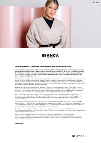 Bianca Ingrosso axlar rollen som Creative Advisor för Nelly.com