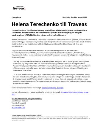 Helena Terechenko till Traveas