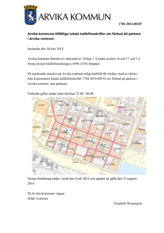 Tillfällig lokal trafikföreskrift om förbud mot parkering