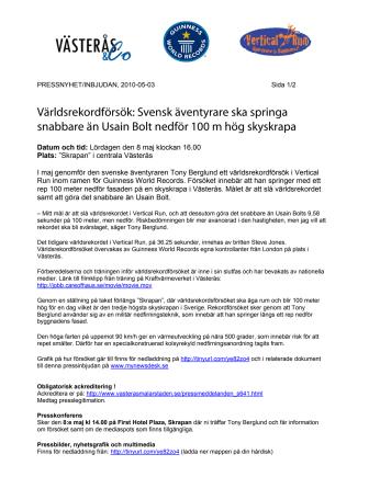 Världsrekordförsök: Svensk äventyrare ska springa snabbare än Usain Bolt nedför 100 m hög skyskrapa