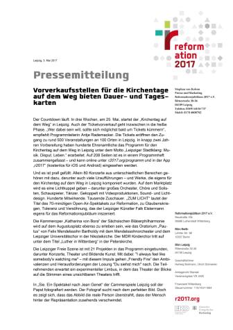 Ticketverkauf Kirchentag auf dem Weg in Leipzig