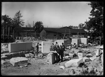 Byggarbetsplatsen för Nordiska museet 1892