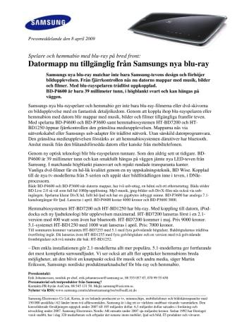 Datormapp nu tillgänglig från Samsungs nya blu-ray