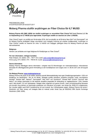 Moberg Pharma slutför avyttringen av Fiber Choice för 6,7 MUSD