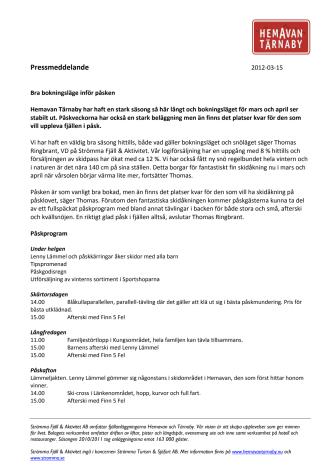 Bra bokningsläge inför påsken i Hemavan Tärnaby