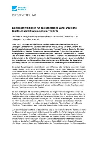 Lichtgeschwindigkeit für das sächsische Land: Deutsche Glasfaser startet Netzausbau in Thallwitz