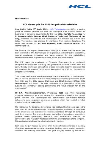 HCL vinner pris fra ICSI for god selskapsledelse