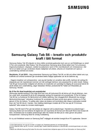 Samsung Galaxy Tab S6 – kreativ och produktiv kraft i lätt format