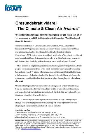 """Öresundskraft vidare i """"The Climate & Clean Air Awards"""""""
