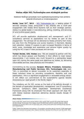 Vestas väljer HCL Technologies som strategisk partner