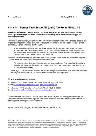 Christian Berner Tech Trade AB (publ) förvärvar Fillflex AB