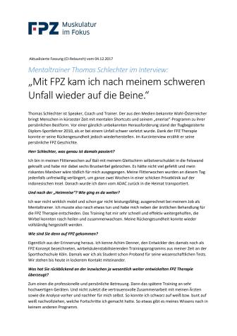 """Mentaltrainer Thomas Schlechter im Interview: """"Mit FPZ kam ich nach meinem schweren Unfall wieder auf die Beine."""""""