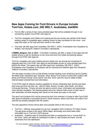 FORD FUTURES - APP LINK (EU)