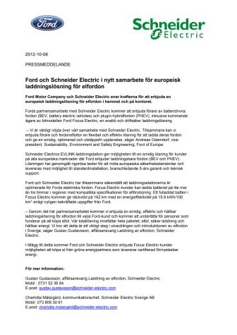 Ford och Schneider Electric i nytt samarbete för europeisk laddningslösning för elfordon
