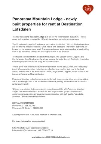 Press release - Panorama Mountain Lodge_Destination Lofsdalen.pdf