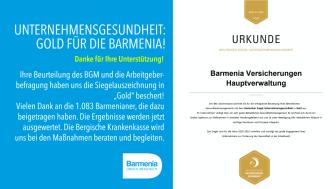 Goldenes Siegel für Unternehmensgesundheit für die Barmenia
