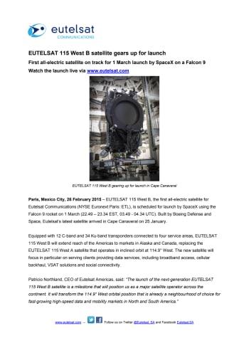 EUTELSAT 115 West B satellite gears up for launch