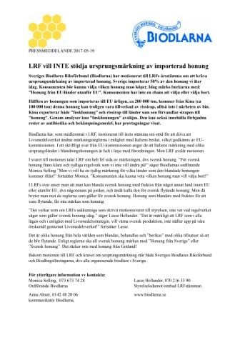 LRF vill INTE stödja ursprungsmärkning av importerad honung