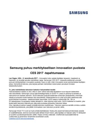 Samsung puhuu merkityksellisen innovaation puolesta CES 2017 -tapahtumassa