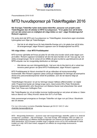 MTD huvudsponsor på Tidskriftsgalan 2016