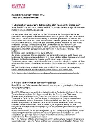 Themenschwerpunkte der Felix Burda Stiftung. Darmkrebsmonat März 2014