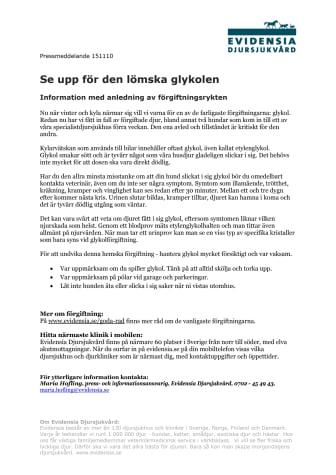Se upp för den lömska glykolen - Information med anledning av förgiftningsrykten