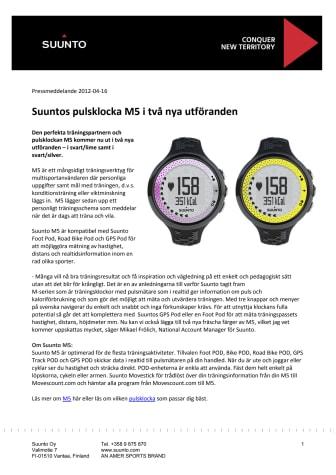 Suuntos pulsklocka M5 i två nya utföranden