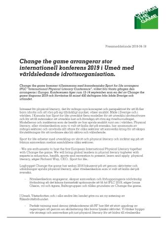 Change the game arrangerar stor internationell konferens 2019 i Umeå med världsledande idrottsorganisation.