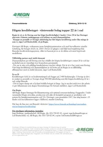 Högsta kreditbetyget - västsvenskt bolag toppar 22 år i rad